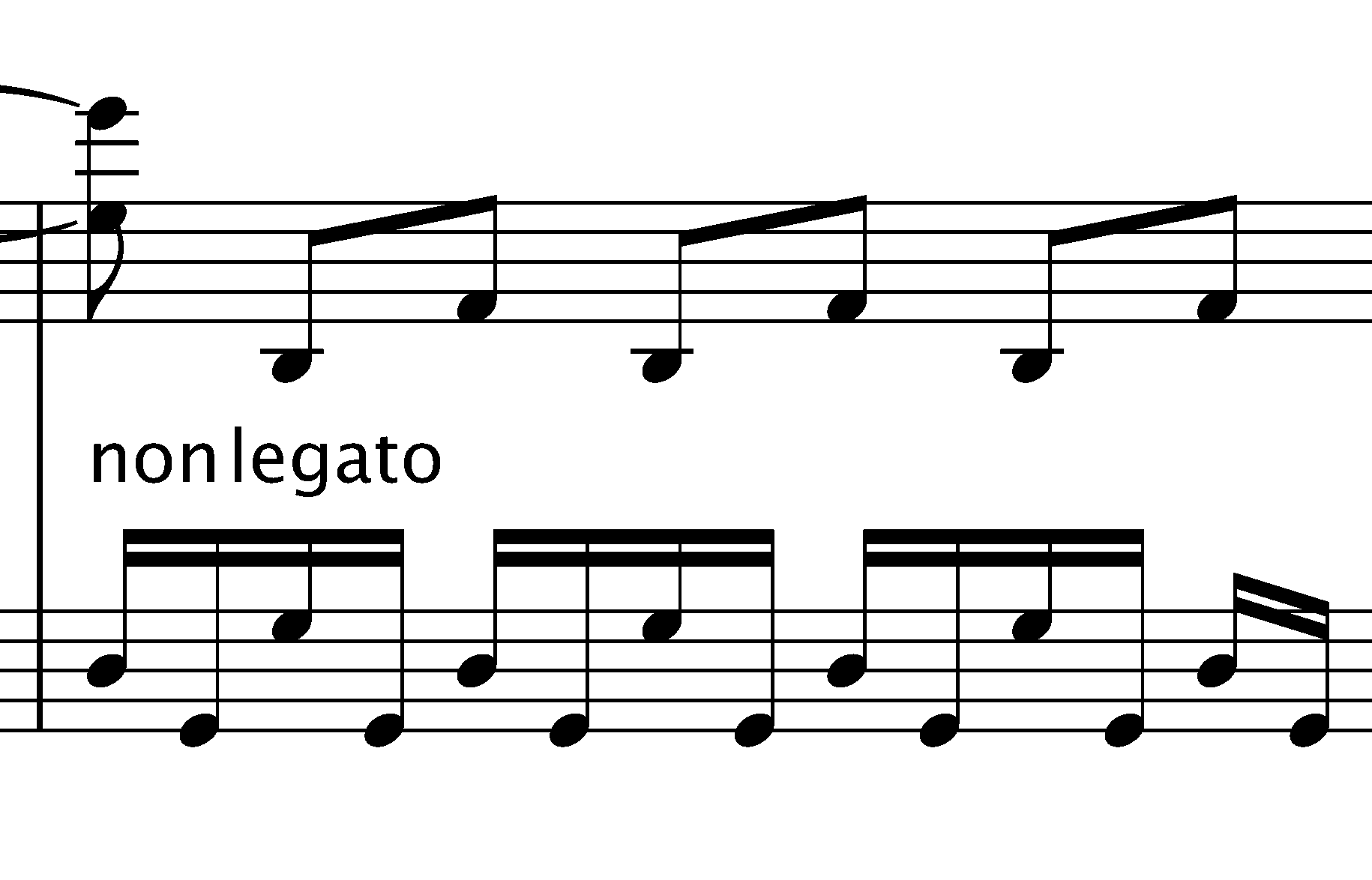 non-legato on the piano