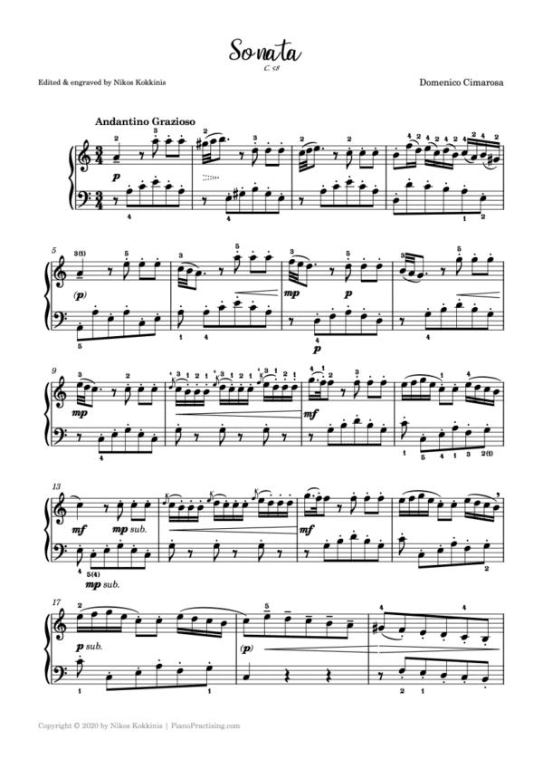 Cimarosa sonata in A Minor C.58 pdf